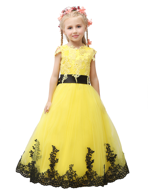 Pageant Dress Little Princess Glitz Ball Gown Lace Yellow Ball Gown ...