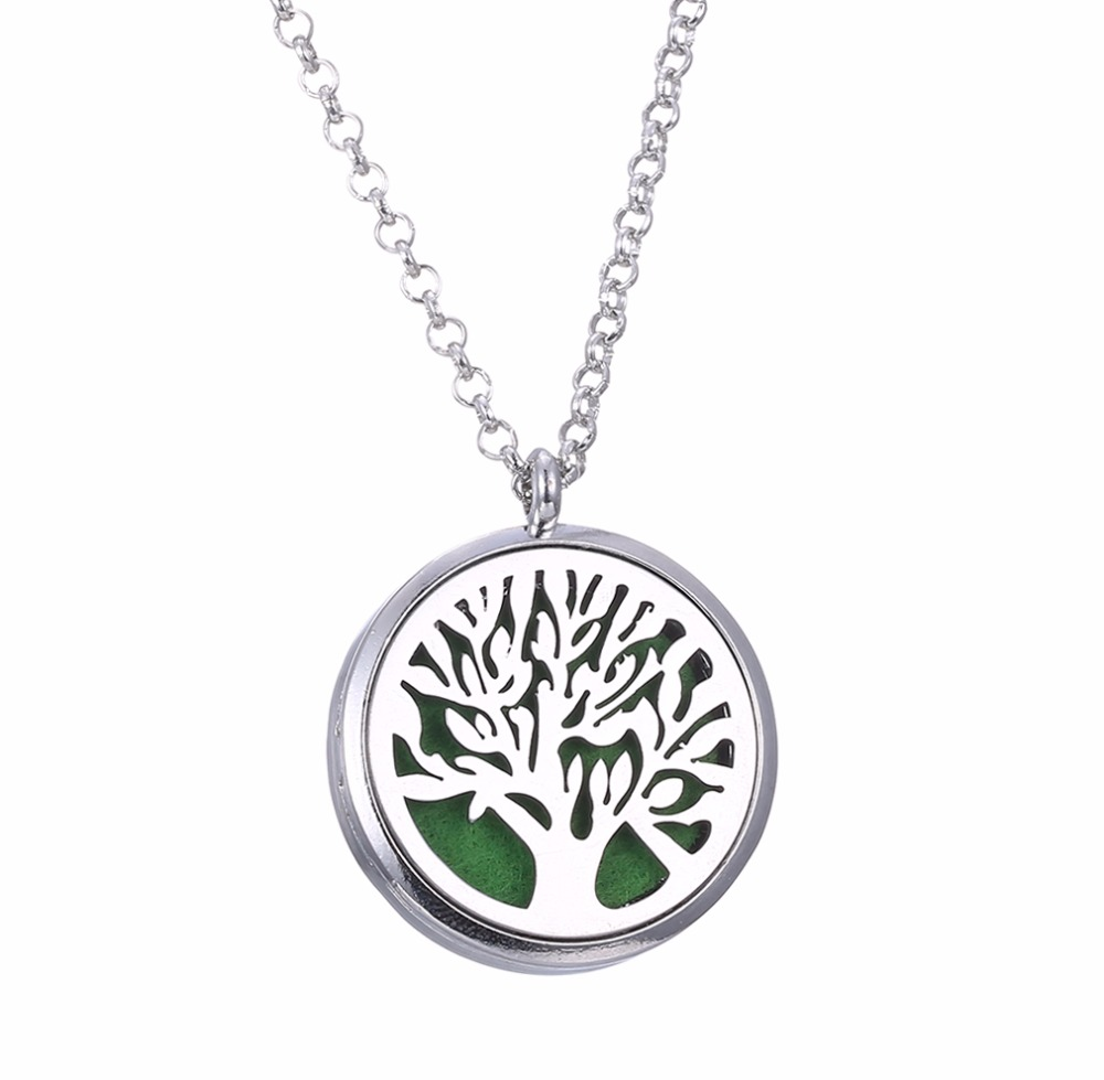 charm Aroma Diffuser life Tree Necklace fashion Open Lockets Pendant Perfume Essential Oil Aromatherapy Locket Necklace TZ3003