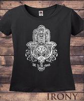 Women's Black T Shirt Fatima Hamsa Hand Boho Zen Eye Design Print TS312
