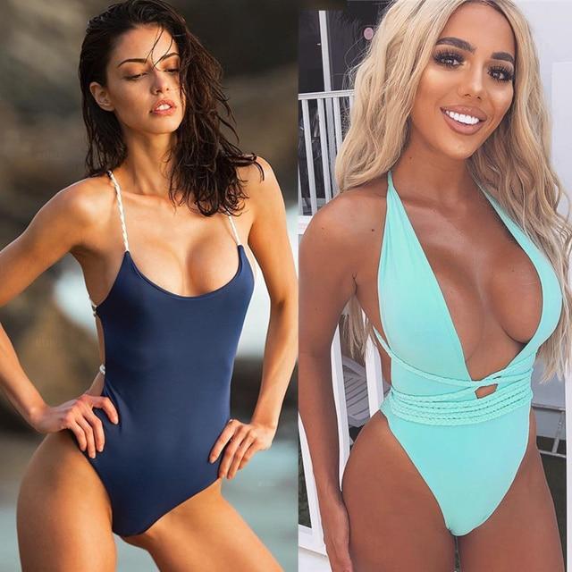 Ariel Sarah 2019 Bandage One Piece Swimsuit Solid Women Swimwear Halter Bathing Suit Women Maillot De Bain Sexy Beach Wear Q355