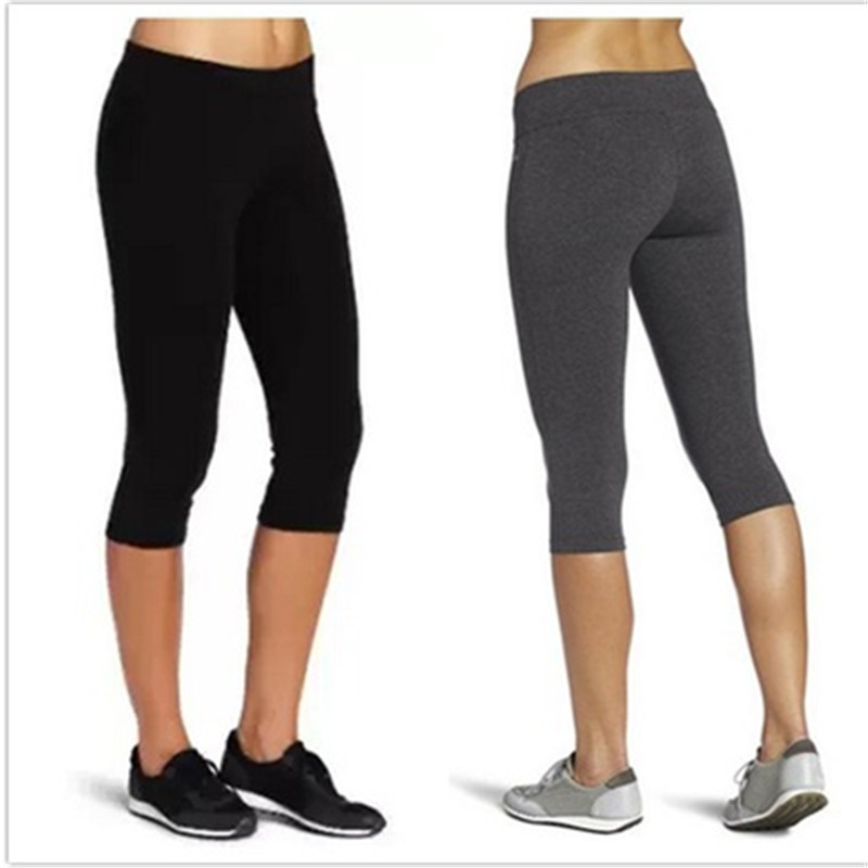 Women Slim Fit Calf-Length   Pants   HighWaist Female Fitness Sweatpants Solid   Pants     Capri   Black Gray One Size