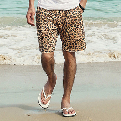 Swag Leopard Print Shorts Men Loose Casual Cotton Men's Beach Shorts 2016 Summer new Men Casual Shorts  Leisure Shorts