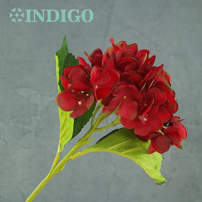 INDIGO- 5 unids Hortensia Roja Con Hojas Flor Hydrange Hermosa Flor - Para fiestas y celebraciones - foto 3