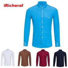 iRicheraf Plus Size Shirt Men Corduroy Polyester Fiber Smart Casual Solid Mens Shirts Long Sleeve Dropshipping 2019 Blue M-5XL