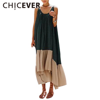 CHICEVER 2017 Hit Colors Summer Dress Women Tunic Hit Colors Spaghetti Strap Long Sexy Dresses Clothes