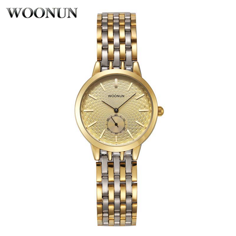 WOONUN Top Brand Luxury Gold Watches Women Full Steel Quartz Wrist Watch Lady Ultra Thin Exquisite Small Watches For Ladies цена