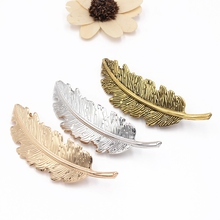 1cad5bd22 Exaggerated Alloy Feather Hairpin Alloy Spring Clip Ponytail Hairpin Hair  Accessories Hot Sale(China)