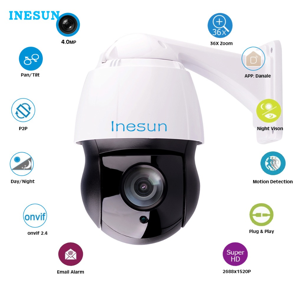 Inesun Outdoor 36X Optical Zoom PTZ IP Security Camera 4MP Super HD High Speed Dome Camera Laser IR Night Vision up to 500 ft ds 2df8336iv ael english version 3mp high frame rate smart ptz camera 120db true wdr 36x optical zoom speed dome camera