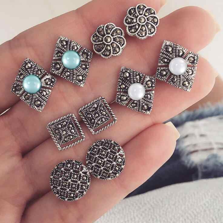5 Pairs/Set Green White Opal Hollow out Flower Stud Earrings for Women Wedding Boucle D'oreille Jewelry Dazzling Wedding Brincos