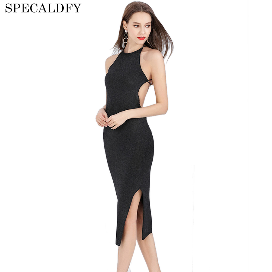 2018 Halter Backless Dresses Women Sleeveless Sexy Club Back Cross Knitted Bodycon Dress Summer Evening Party Dresses Robe Femme open back criss cross bodycon club dress