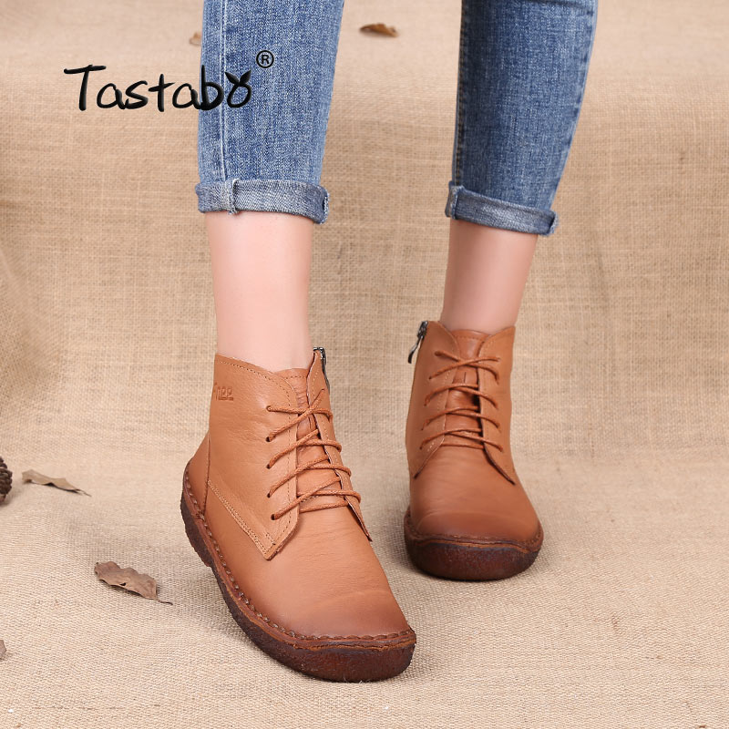 Tastabo Autumn Sneakers for Women Winter Boots Shoelace Zipper Genuine Leather Ladies Shoes Female Ankle Boots Large Size 35-43 autumn and winter new ladies genuine