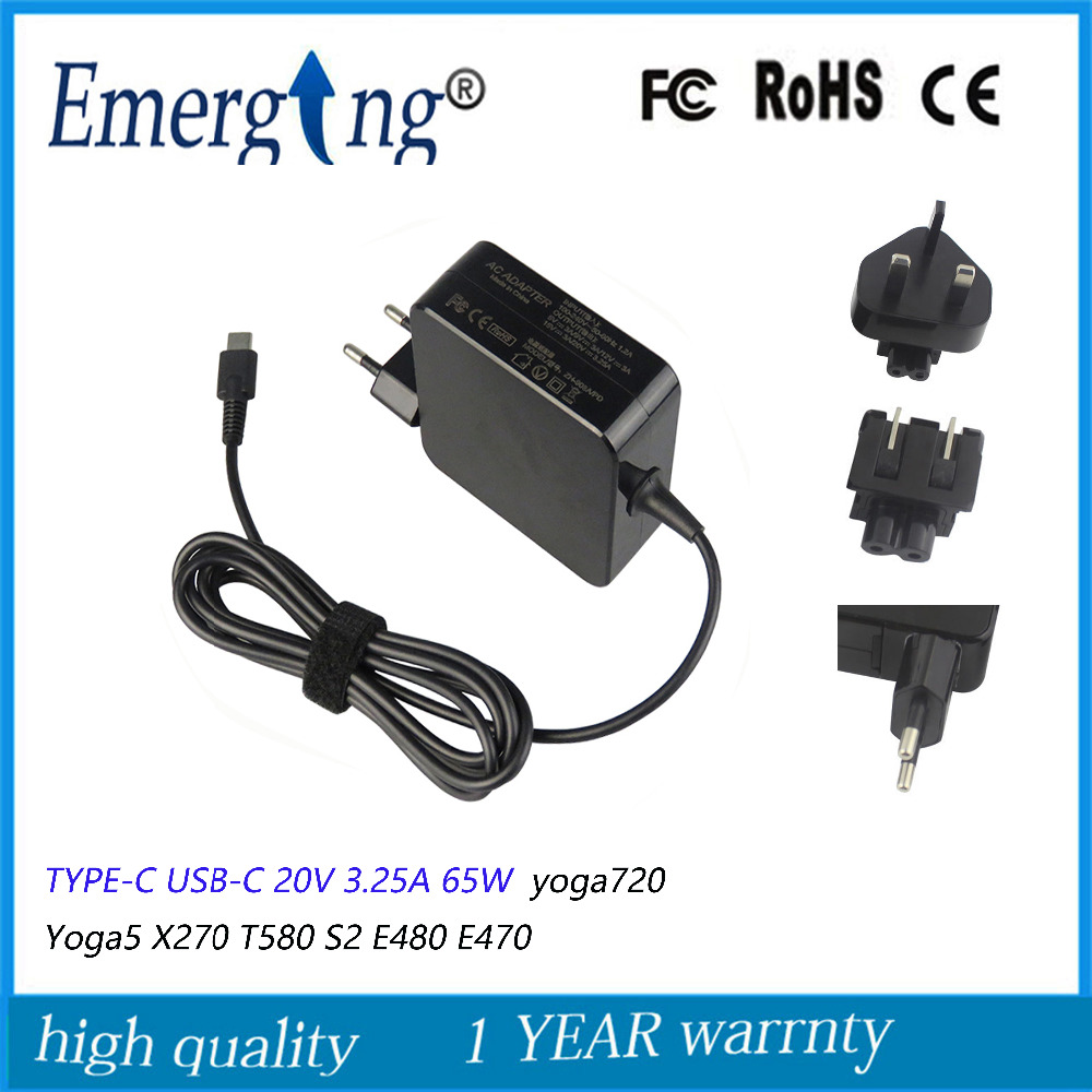 20 v 3.25a 65 w AC TYPE-C USB-C Adaptateur alimentation Pour Lenovo Yoga910-13IKB yoga720 Yoga5 X270 T580 S2 E480 e470