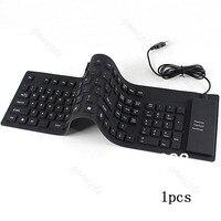109 ключей USB силиконовой резины Водонепроницаемый гибкая складная клавиатура для PC черный
