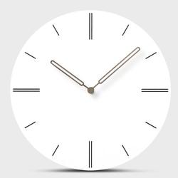 12 Inch Creative Wood Wall Clock Hanging Modern Mute White Clock Circular European Design Simple Craft Watch Home Office Decor