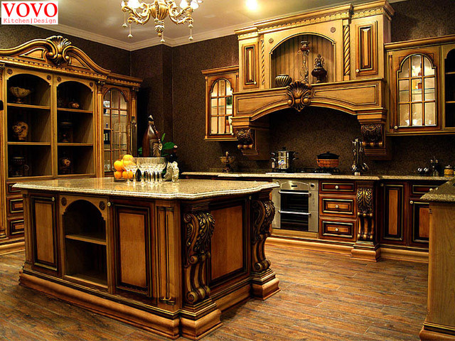 Vintage Kitchen Cabinets With Gold Painted Design In Kitchen