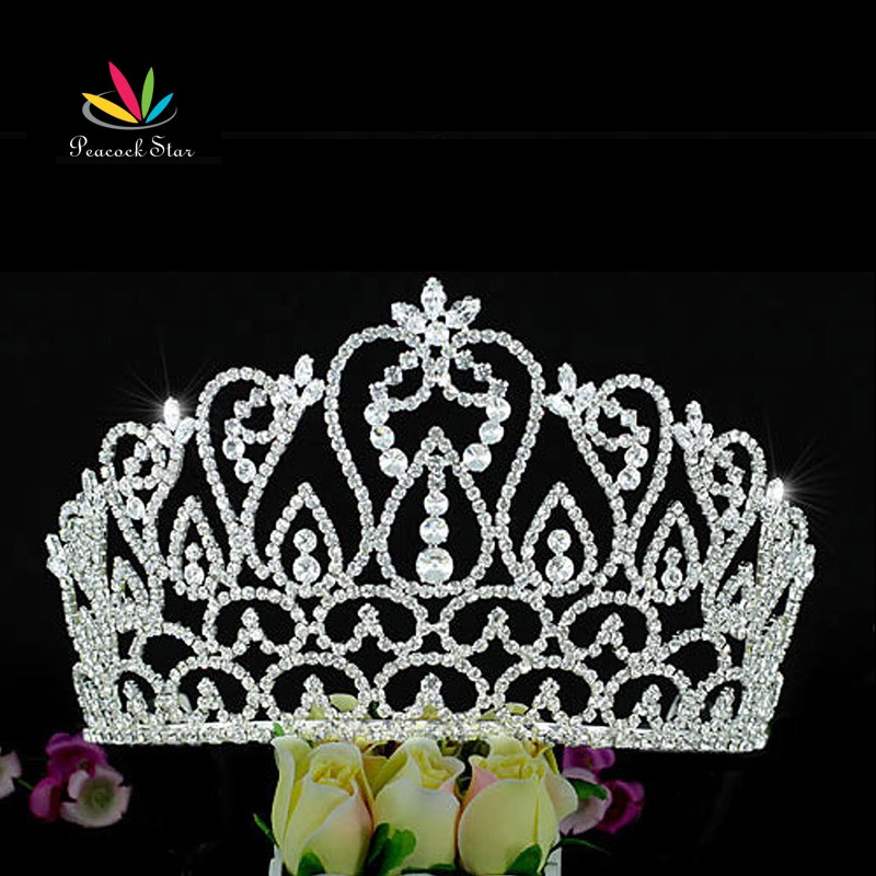 Peacock Star Large Wedding Pageant Beauty Contest Tall 4.25  (10.8 cm) Tiara Crown CT1587 peacock star bridal wedding party quality sparkling pageant beauty contest black crystal tall tiara ct1389