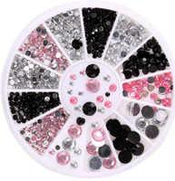 Caixa 1 Preto rosa claro 3 Cores Tamanho Mista Nail Art Decor 3D Lote Glitter Rhinestone DIY Acessórios Bonitos Da Roda para Unhas de Gel Polonês