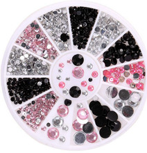1Box Black pink clear 3Colors Size Mixed Nail Art Decor 3D Lot Glitter Rhinestone Cute DIY Accessories Wheel for Gel Polish