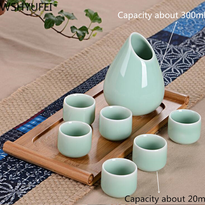 7PCS/lot ceramic wine set home creative sake pot ceramic anti-ancient cup Wine glass capacity is about 20ml WSHYUFEI image