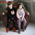 2016 Nova Outono Inverno Unisex Define Gato Caráter Quente Longo de manga comprida O-pescoço Pullover + calças Conjuntos de Terno para 3-7 anos de idade Meninos meninas
