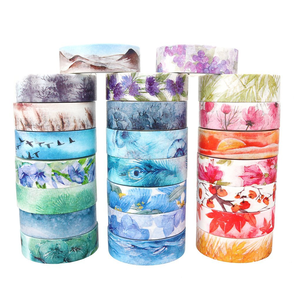 Romantic Four Seasons Washi Tape Decorative Adhesive Tape DIY Scrapbooking Sticker Label Masking Tape 1roll 35mmx7m high quality rabbit home pattern japanese washi decorative adhesive tape diy masking paper tape label sticker gift page 4