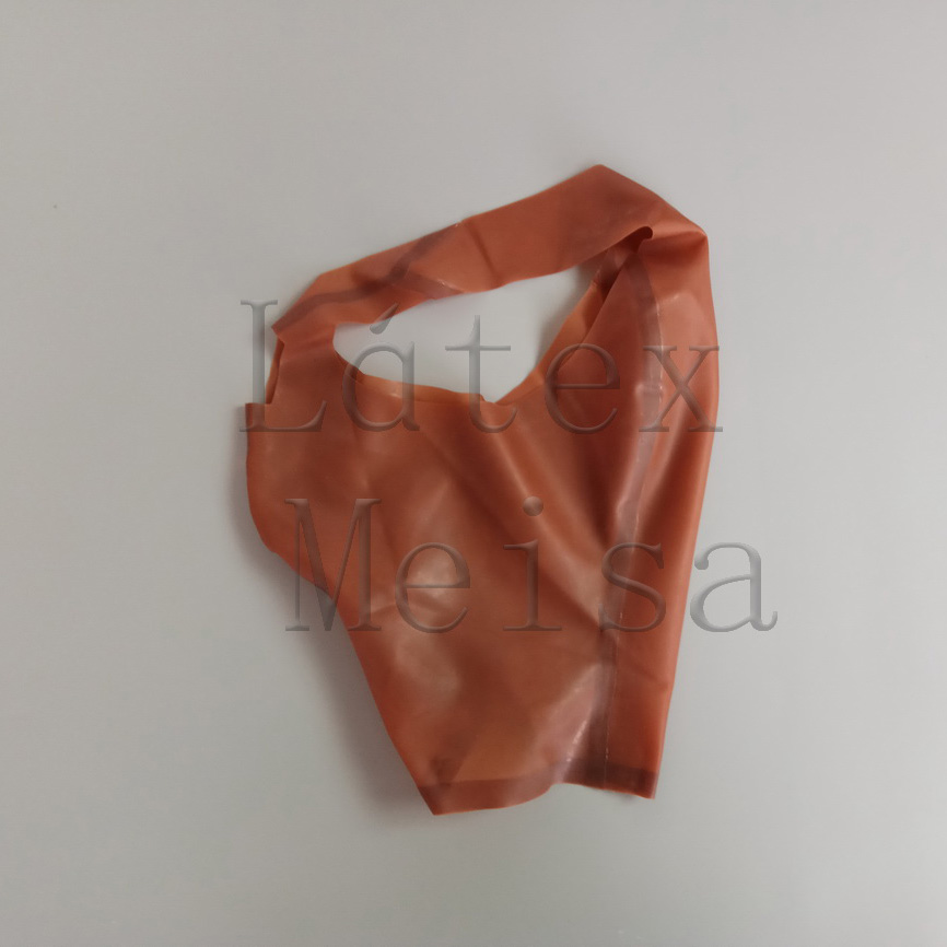 Transparent Brown Zentai Latex Hoods Open Forehead Eye Nose And Mouth Without Zipper For Adults