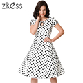 2017 Women Vintage Dress Retro Dots Vintage Polka Dot Dresses Casual Summer Beach Party Vestidos Robe Rockabilly Swing Pin Up