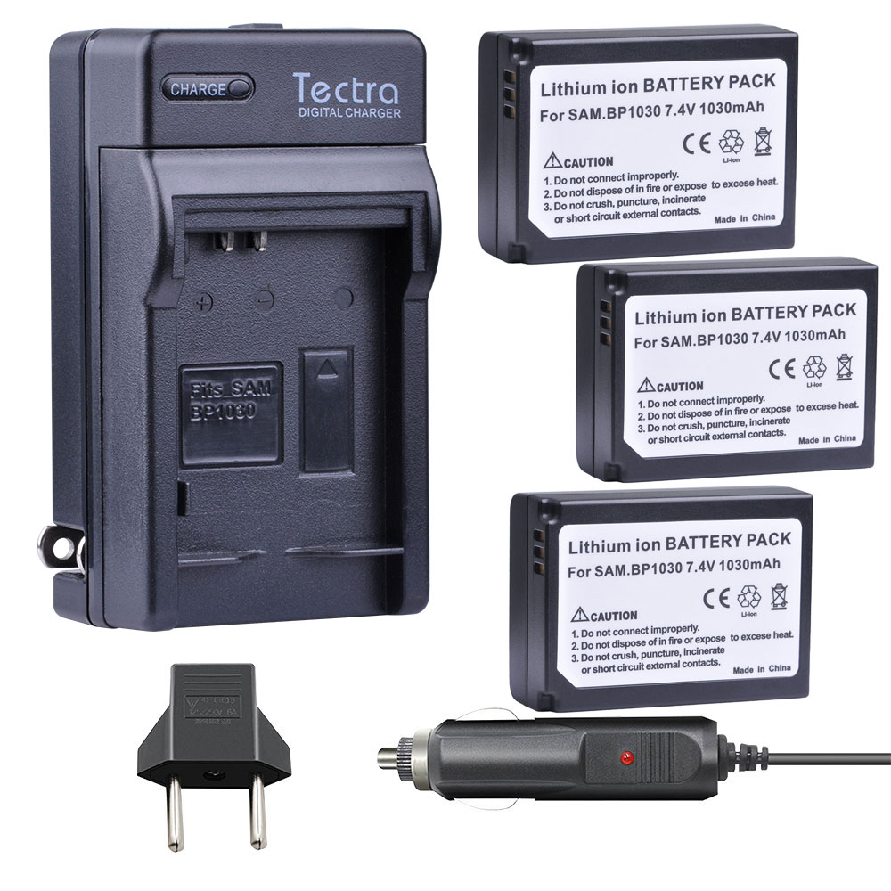 3pcs BP1030 BP 1030 BP-1030 Battery +Car <font><b>Charger</b></font> for <font><b>Samsung</b></font> NX1100 NX-300M NX300 NX500 <font><b>NX1000</b></font> NX200 NX210 Batteries 1x EU plug image