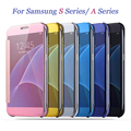 For Samsung Galaxy S7 Edge Case for S6 Edge S5 A5 Luxury Smart Flip Slim View Electroplating Mirror Hard Case Cover for J5 2016