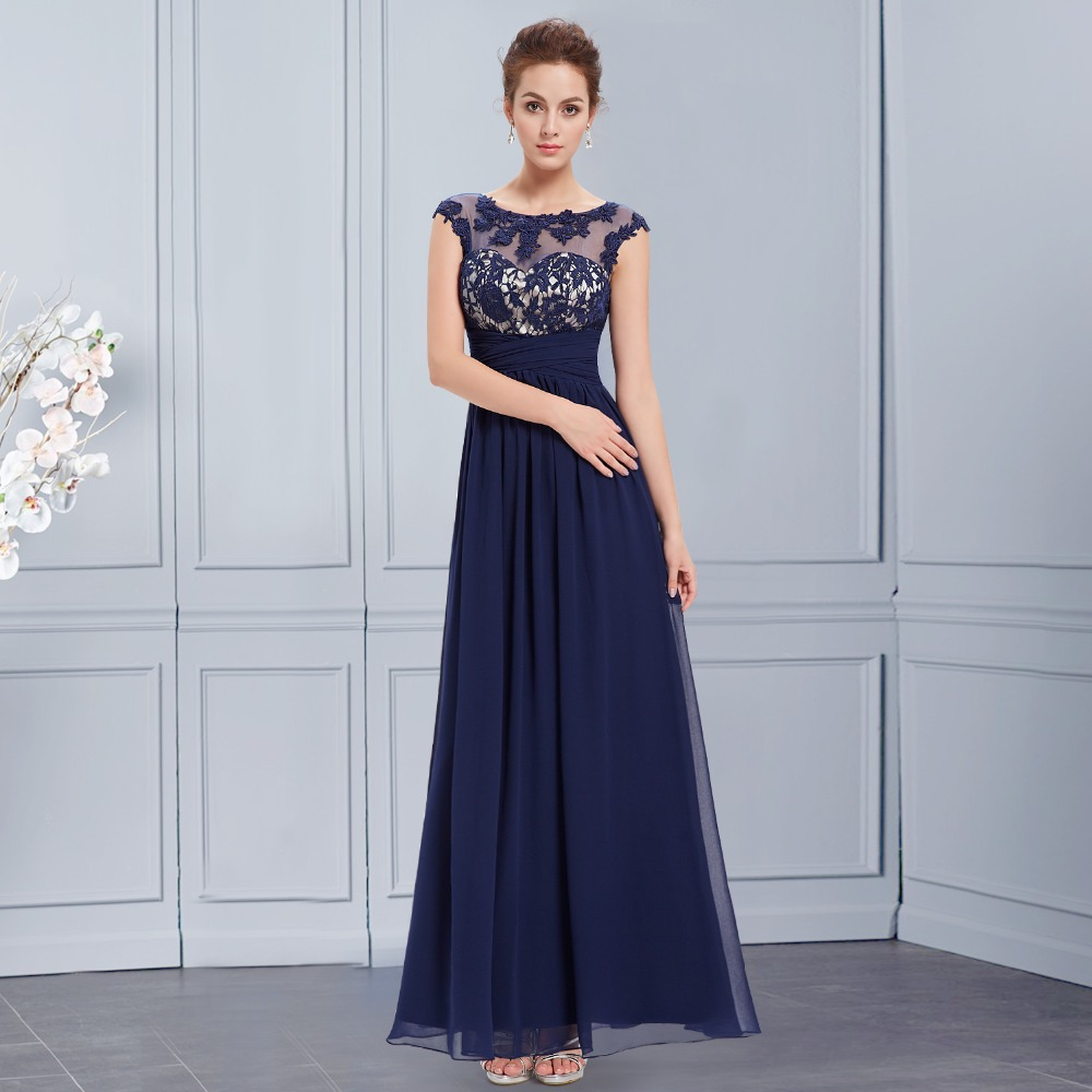 Aliexpress.com : Buy 2015 Navy Blue Evening Dress Lace Appliques ...