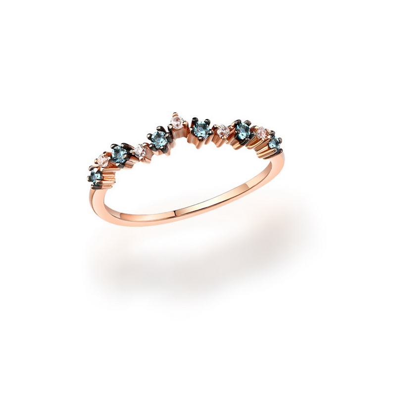 JXXGS Blue Topaz Charming Ring 14k Gold Light Ring Rose Gold Color Ring For Girl Daily Wear