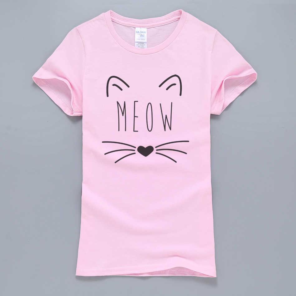 ニャー猫キティかわいい Tシャツ女性 2019 新夏綿 100% Tシャツピンク K-ポップ原宿トップスファッションの女性の Tシャツ