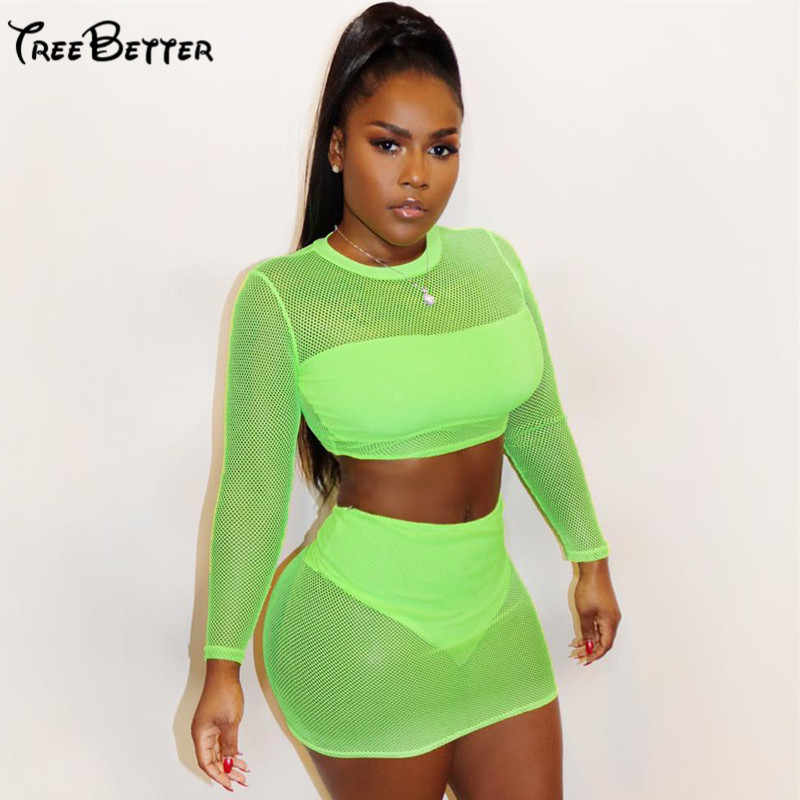 Neon Green Mesh Sexy Long Sleeve Fhishnet Transparent Clubwear Femme Casual Outfits Summer Skinny 2 Pcs Set