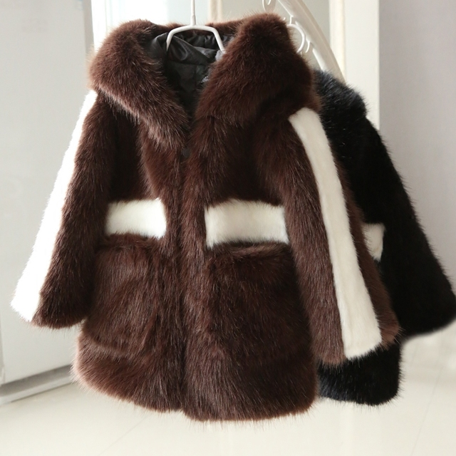 71d28778c0d0 Free Shipping Black White Mink Fur Coat long natural fur jackets Children  Warm Faux Fur Waistcoat Chocolate Hooded Overcoats