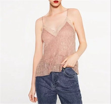 The new European style fashion lace stitching money suspender shirt bottoming