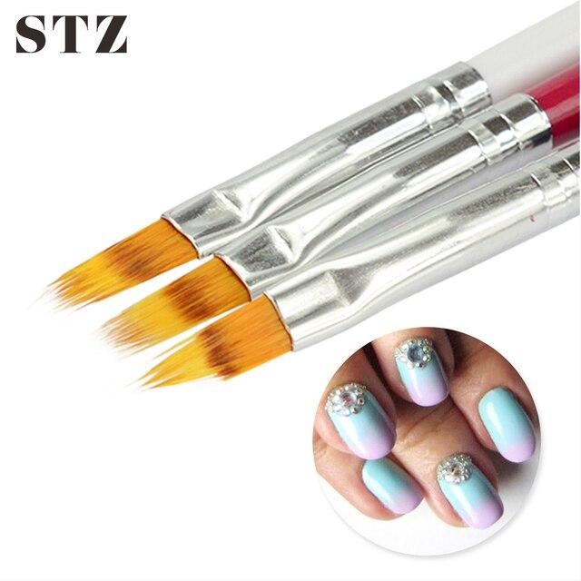 Stz 1pcs Nail Brush Ombre Soft Gradient Effect Pen Redblackwhite