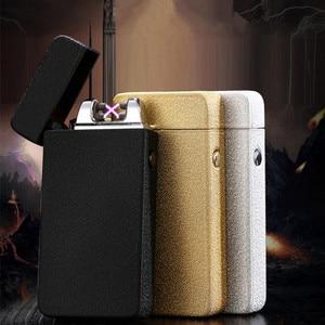 Image 2 - De Plasma USB Dual de arco, metálico encendedor recargable a prueba de viento mechero electrónico cigarrillo arco de doble pulso Cruz trueno Ligthers
