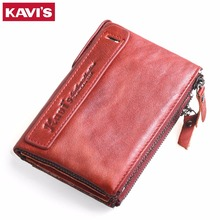 KAVIS 2017 New Famous Brand Vintage Women Wallets Genuine Leather Wallet Zipper Design With Coin Purse Pockets Womens Wallet