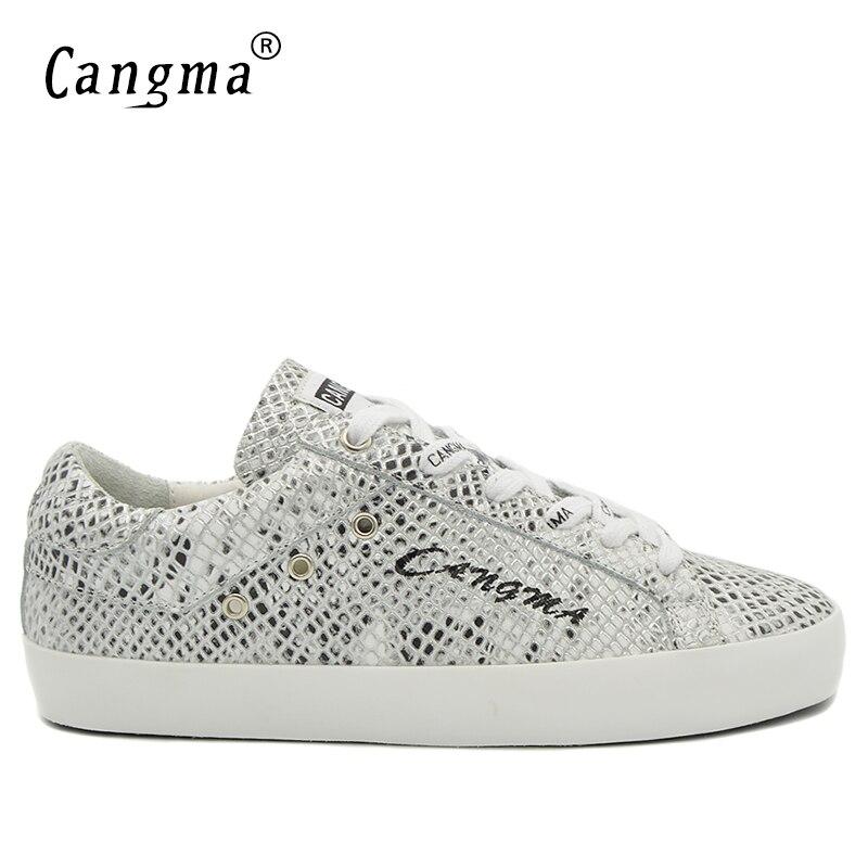 CANGMA бренд кроссовки мужчины прочный серебряные туфли на плоской подошве под змеиную кожу из натуральной кожи Мужская дышащая обувь на шнур...