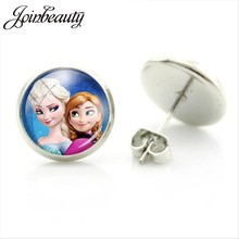 JOINBEAUTY Princess Anna Elsa Girl Glass Cabochon Movie Stud Earrings Unique Cartoon Picture Women Earring Handmade Jewelry ES50(China)