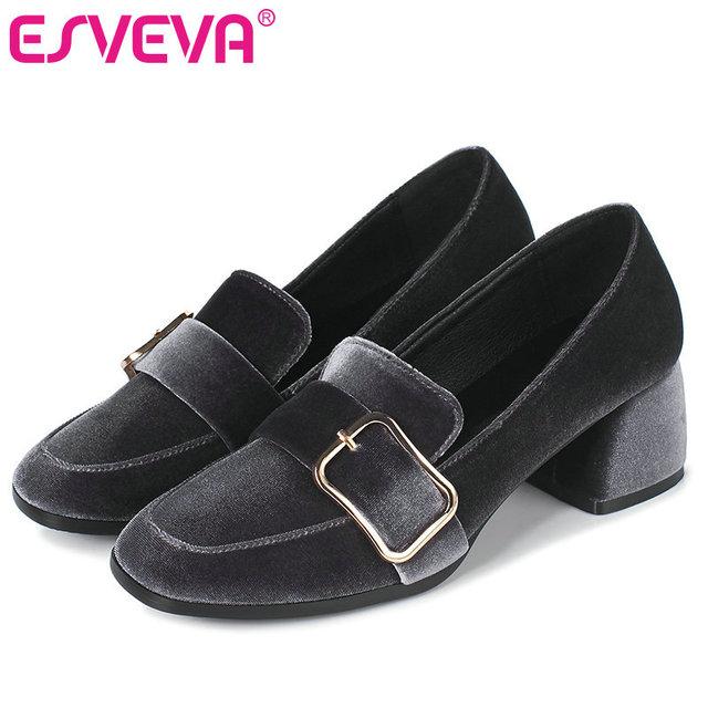 ESVEVA 2017 Women Pumps Flock Square Med Heel Slip on Pumps Spring Autumn Shoes British Style Wedding Women Shoes Big Size 34-42