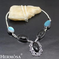 HERMOSA Jewelry Unique Fashion BLACK ONYX Moonstone 925 Sterling Silver Women Necklace 19 inches LM33