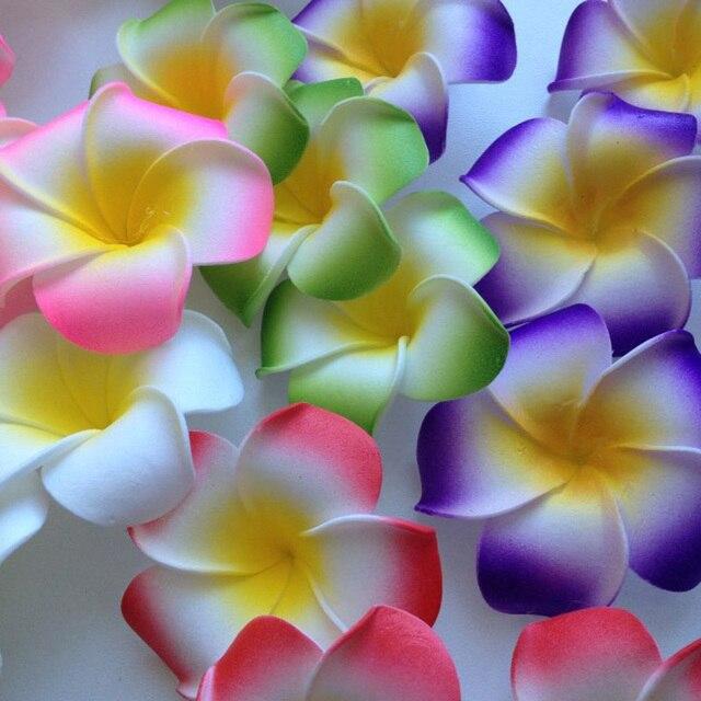 10 unids/lote Plumeria hawaiana PE espuma Frangipani flores artificiales DIY corona tocado flores decoración de boda suministros para fiestas