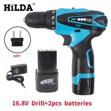 Hilda 16.8 v akülü vidalama elektrik matkap iki-hız şarj edilebilir 2 adet lityum pil su geçirmez el led ışık