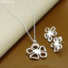 F 925 Sterling Silver Women Necklace Earrings Fashion Charm Necklace Earrings Jewelry Set Free Ship
