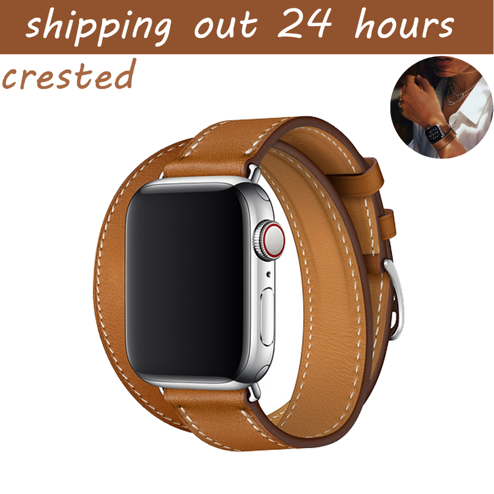 CRESTED Genuine Leather band for apple watch band 42mm 38mm watch belt bracelet watchband Double Tour strap for iwatch 3/2/1 цена