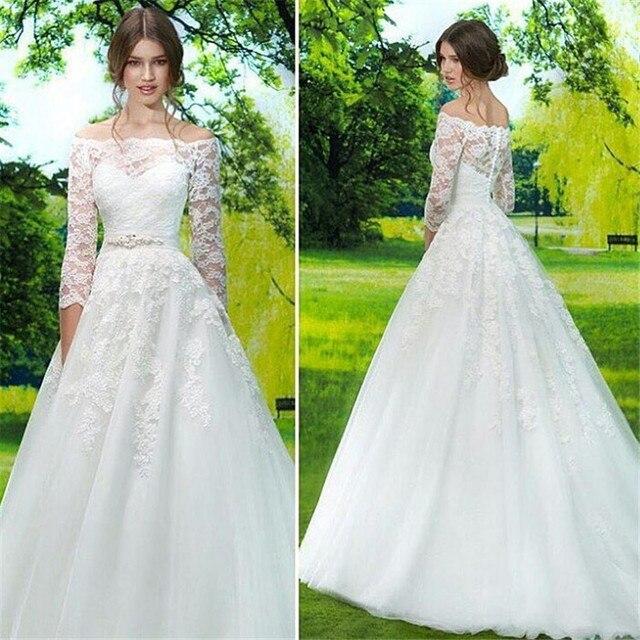 59a71e4331c Simple Boat Neck Three Quarter Sleeves Floor Length Wedding Dress Elegant  White   Ivory A Line Appliques Tulle Bridal Dresses