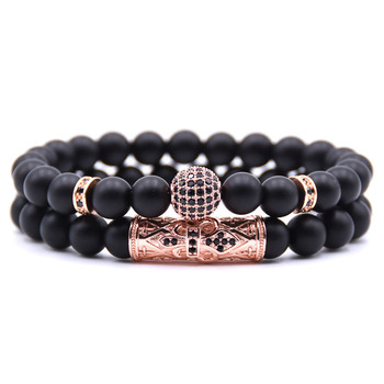 Quality Men Set Bracelet Fashion Men Homme Jewelry 8MM Natural Stone Gold Silver Micro-inlaid Zircon CZ Ball Beaded Bracelets 3
