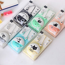 Cute Cat Cartoon Macaron Earphone 3.5mm in-ear Stereo with Mic Earphones Case for Phone Girls Kid Child Student for MP3 MP4 Gift
