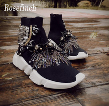 Luxury Rhinestones Sneakers Black Crystal Women Fashion Stretch Sock Boots Sport Knit Casual Shoes WK110